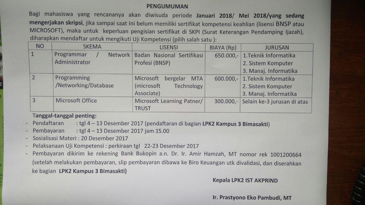 Pendaftaran Sertifikasi Uji Kompetensi untuk SKPI