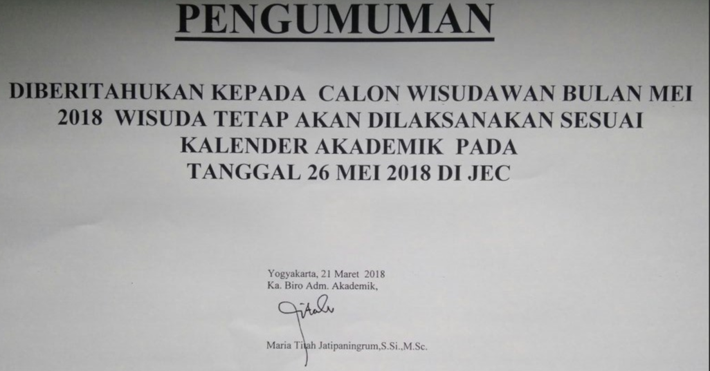Pengumuman Bagi Calon Wisuda Bulan Mei 2018