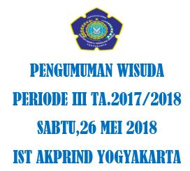 Pengumuman WISUDA Periode III TA.2017/2018 Sabtu,26 Mei 2018