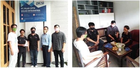 Tiga mahasiswa (Bismin, Markus Andika dan Dandy Renaldy Chrystian)magang industri di PT Pilar Cipta Solusi Integratika