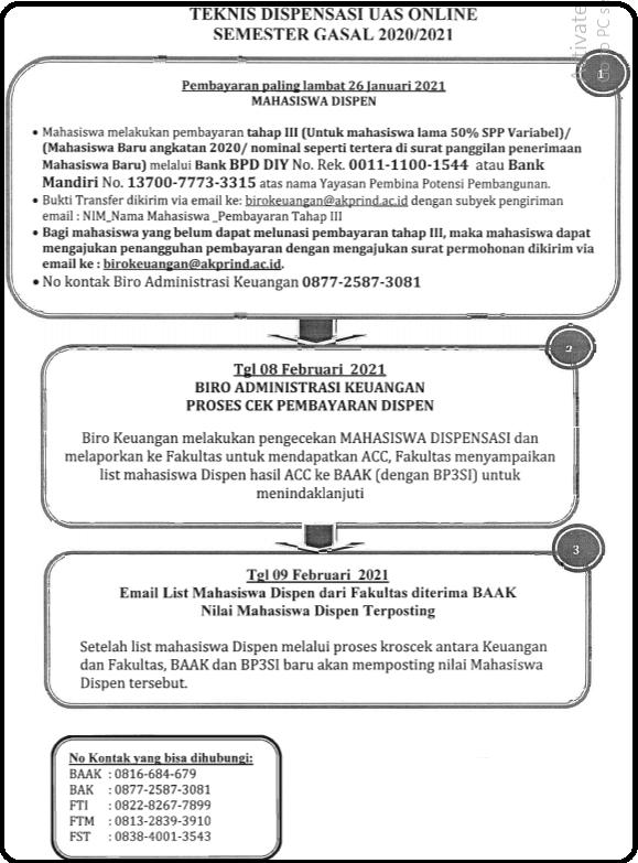 Teknis Dispensasi UAS Online Semester GASAL 2020/2021