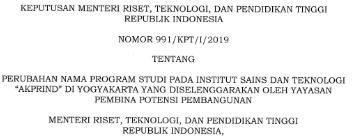 Perubahan Nama Program Studi